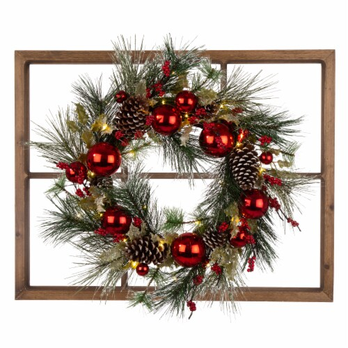 Glitzhome LED Pre-Lit Pinecone & Ornament Wreath Wooden Window Frame Perspective: front