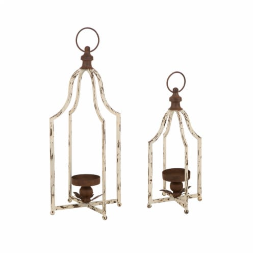 Glitzhome Farmhouse White Metal Lanterns Perspective: front