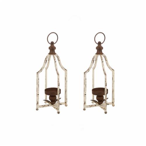 Glitzhome Farmhouse Metal Lanterns - White Perspective: front