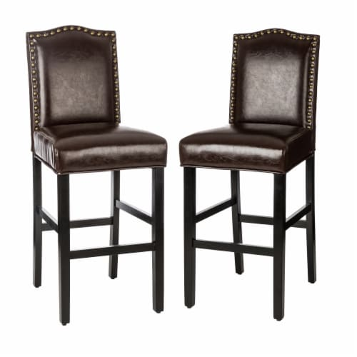 Glitzhome Bonded Leather High Back Studded Bar Chairs - Coffee Perspective: front