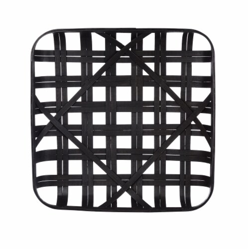Glitzhome Vintage Square Bamboo Tobacco Basket Decoration - Black Perspective: front