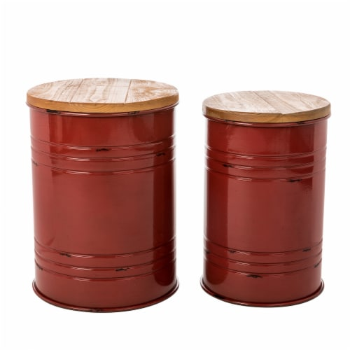 Glitzhome Meta Storage Accent Stools with Wood Lids - Red Perspective: front