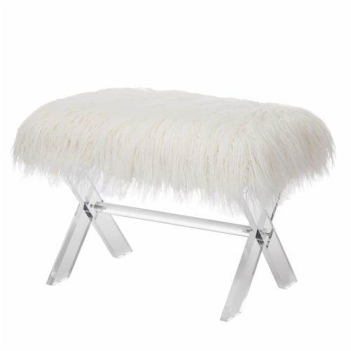 Glitzhome Faux Fur Upholstered Bench with Acrylic X-Leg - White / Clear Perspective: front