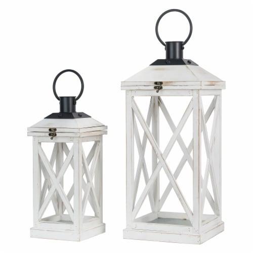 Glitzhome Farmhouse Whitewash Modern Wodden/Metal Lanterns Perspective: front