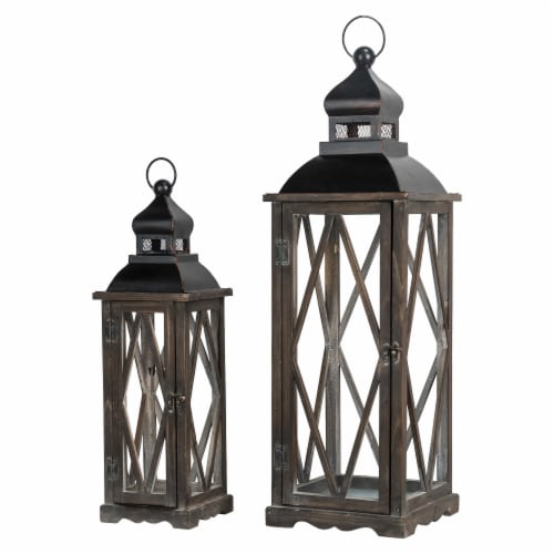Glitzhome Farmhouse Wooden Lanterns with Diamond Window Frames - Black Perspective: front