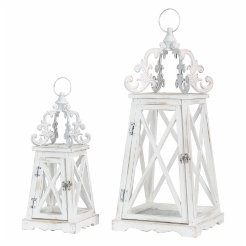 Glitzhome Farmhouse Whitewash Modern Wooden Lanterns with 3D Metal Lace Top Perspective: front