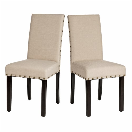 Glitzhome Cushioned Dining Chairs Pair - Cream Perspective: front