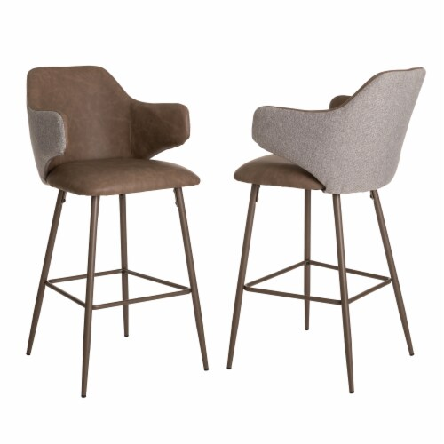 Glitzhome Leatherette & Fabric Bar Stools Pair - Dark Brown and Gray Perspective: front