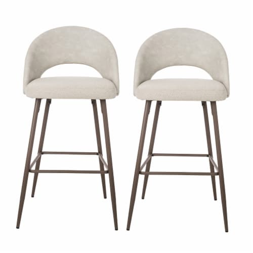 Glitzhome Fabric/Leatherette Bar Stools - Pale Gray Perspective: front