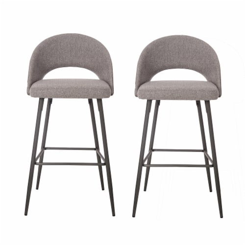 Glitzhome Fabic/Leatherette Bar Stool with Tapered Metal Legs - Dark Gray Perspective: front