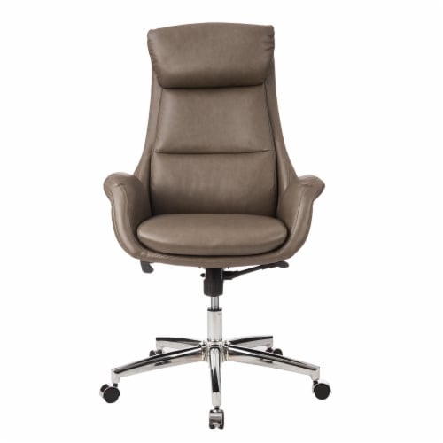 Glitzhome Mid-Century Modern Leatherette Adjustable Swivel High Back Office Chair - Brownish Gray Perspective: front