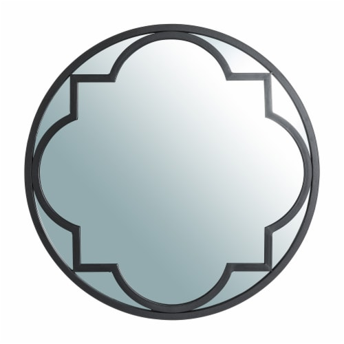 Glitzhome Medium Metal/Glass Round Classic Wall Mirror - Black Perspective: front