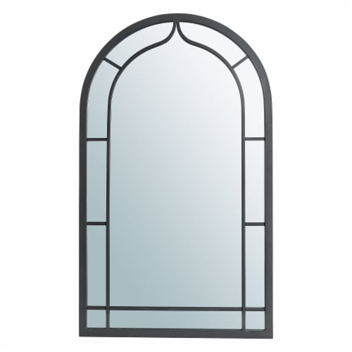 Glitzhome Oversized Metal/Glass Arched Wall Mirror - Black Perspective: front