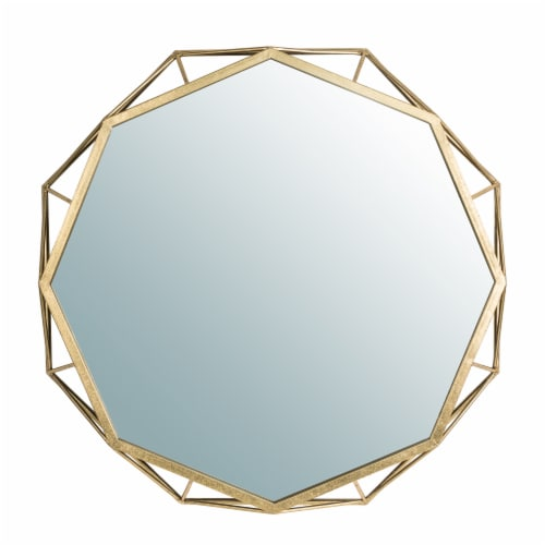Glitzhome Deluxe Golden Octagonal Metal/Glass Wall Mirror Perspective: front
