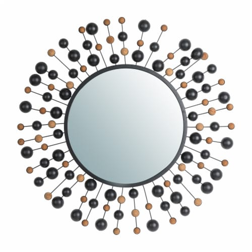 Glitzhome Oversized Metal/Glass Round Wall Mirror with Beads Perspective: front