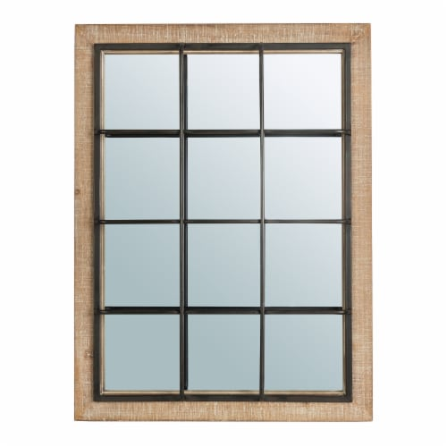 Glitzhome Farmhouse Wooden/Metal Windowpane Classic Wall Mirror Perspective: front