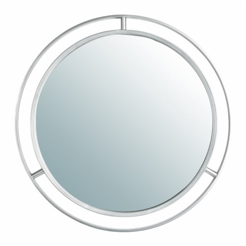 Glitzhome Modern Deluxe Round Metal Classic Wall Mirror - Silver Perspective: front
