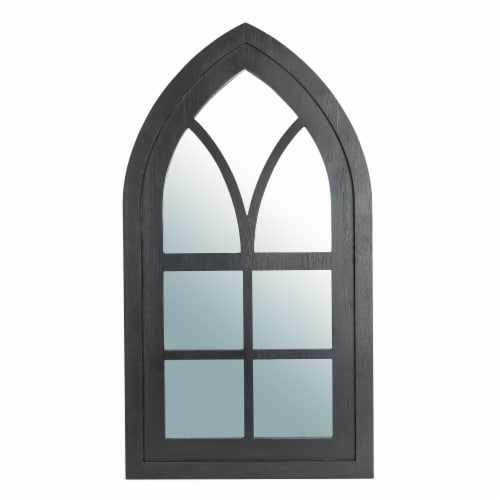 Glitzhome Wooden Cathedral Windowpane Wall Mirror Decor - Black Perspective: front