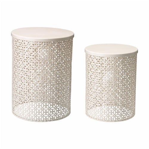 Glitzhome Metal Garden Stool Plant Stand - Cream White Perspective: front