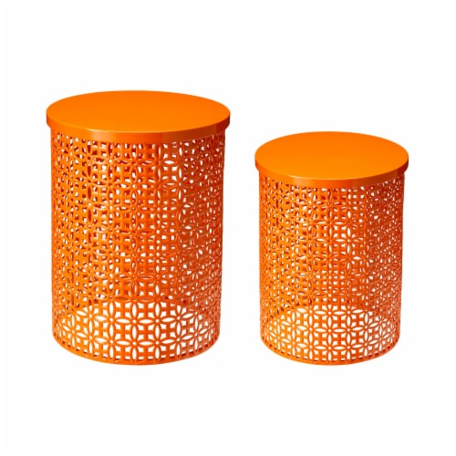 Glitzhome Metal Multi-Functional Garden Stool Plant Stands - Orange Perspective: front