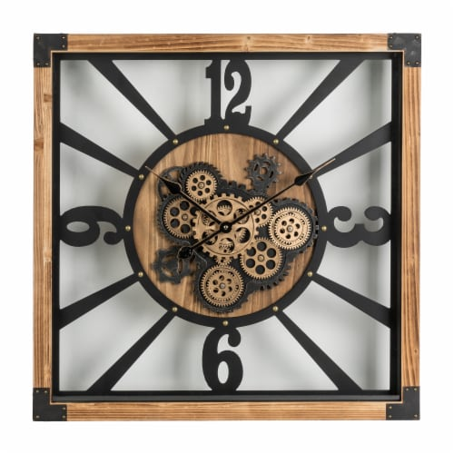 Glitzhome Industrial Wooden/Metal Square Gear Wall Clock Perspective: front