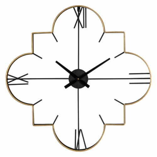 Glitzhome Oversized Modern Metal Wall Clock - Golden/Black Perspective: front