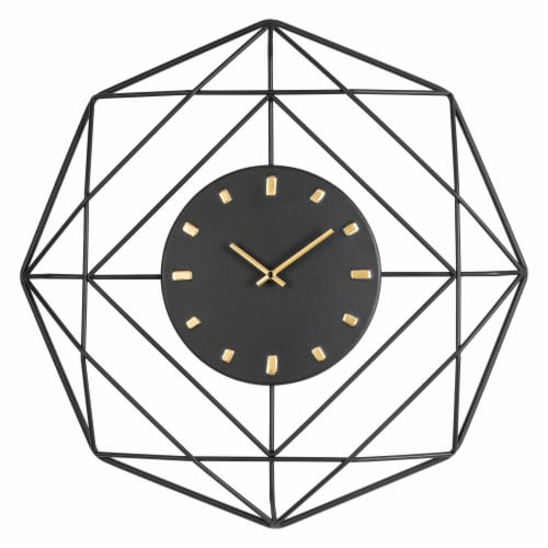 Glitzhome Modern Metal Wall Clock - Black/Golden Perspective: front