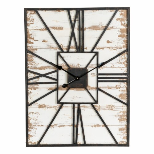 Glitzhome Oversized Farmhouse Washed White Wooden/Metal Wall Clock Perspective: front