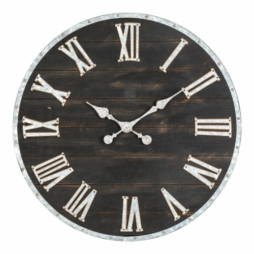 Glitzhome Oversized Farmhouse Wooden and Galvanized Wall Clock Perspective: front