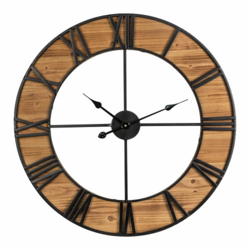 Glitzhome Farmhouse Oversized Black Wooden & Metal Wall Clock Perspective: front