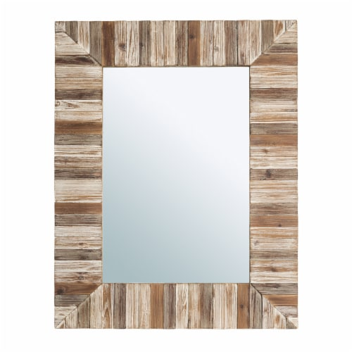 Glitzhome Farmhouse Rectangle Wooden Frame Wall Mirror Perspective: front