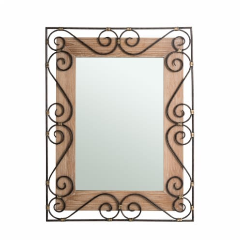 Glitzhome Traditional Rectangle Wooden and Metal Scroll Wall Mirror Perspective: front
