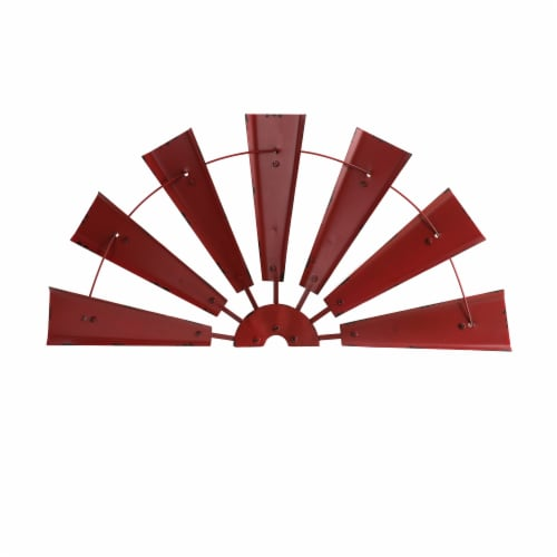 Glitzhome Vintage Farmhouse Half Wind Spinner Wall Decoration - Red Perspective: front