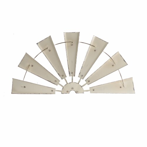 Glitzhome Vintage Farmhouse Half Wind Spinner Wall Decor - Beige Perspective: front