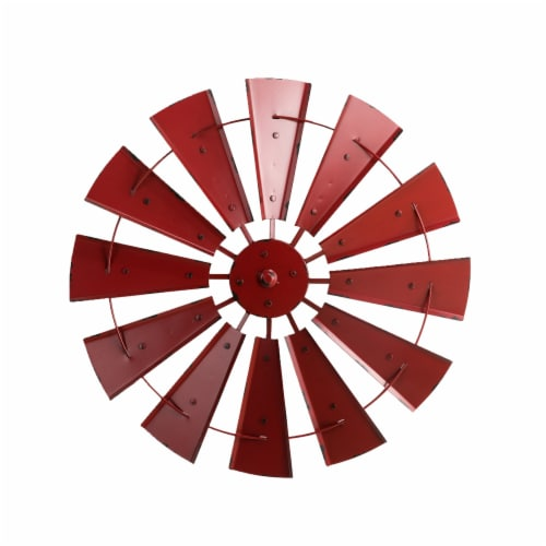 Glitzhome Vintage Metal Wind Spinner Wall Decoration - Red Perspective: front