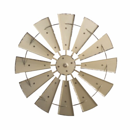Glitzhome Farmhouse Vintage Metal Wind Spinner Wall Decor - Beige Perspective: front