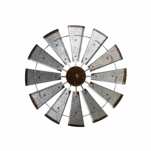 Glitzhome Farmhouse Metal Galvanized Wind Spinner Wall Decor Perspective: front