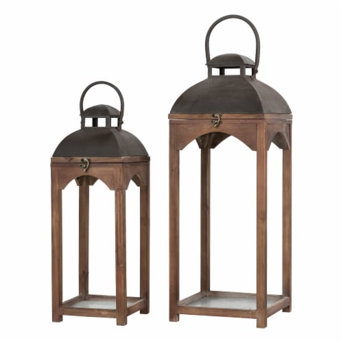 Glitzhome Farmhouse Modern Wood/Metal Lanterns - Whiskey Brown Perspective: front