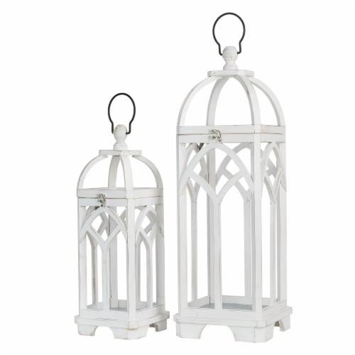 Glitzhome Farmhouse White Wood Church Windowframe Lanterns Perspective: front