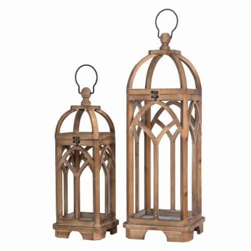 Glitzhome Farmhouse Natural Wooden Church Window Lanterns Perspective: front