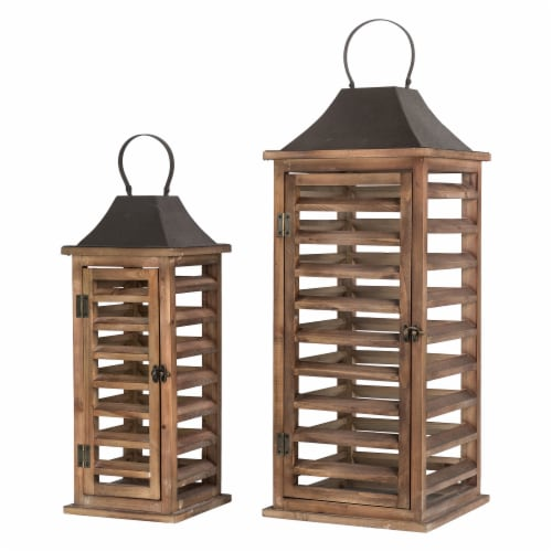 Glitzhome Farmhouse Natural Wooden Shutter Lanterns Perspective: front