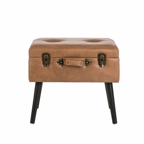 Glitzhome Leathaire Upholstered Storage Stool - Whiskey Brown Perspective: front
