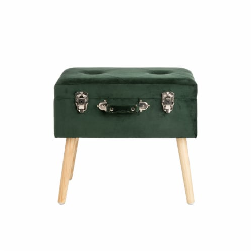 Glitzhome Velvet & Wooden Upholstered Storage Stool - Hunter Green Perspective: front