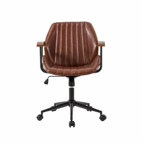 Glitzhome Russet Leatherette Adjustable Swivel Desk Chair - Coffee Perspective: front