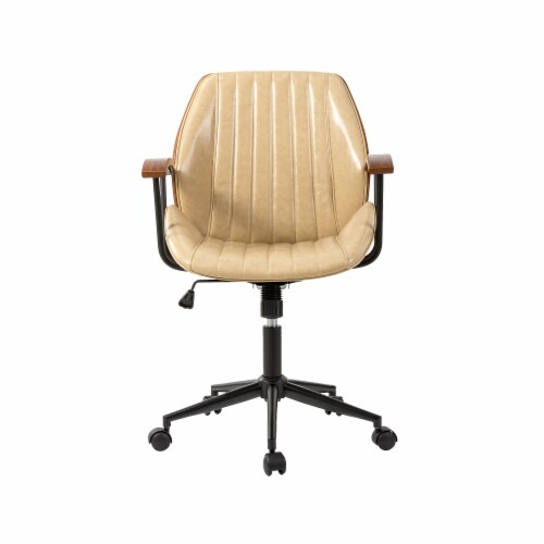 Glitzhome Leatherette Adjustable Swivel Desk Chair - Cream Perspective: front