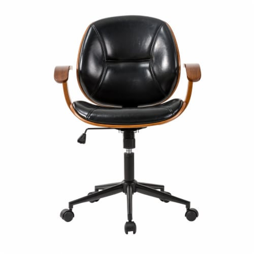 Glitzhome Adjustable Swivel Leatherette Desk Chair  - Black Perspective: front