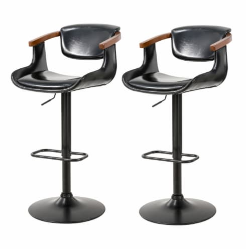 Glitzhome Leatherette Adjustable Swivel Bar Stool Perspective: front