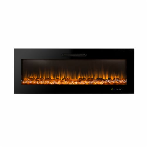 "50""L Recessed Wall Mounted Electric Fireplace, With 9 Color Flames Perspective: front"