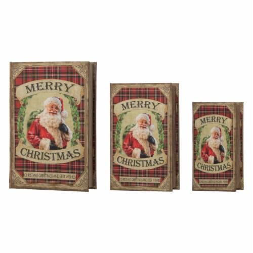 Glitzhome Decorative Wooden Christmas Santa's Book Box Storage Box Perspective: front
