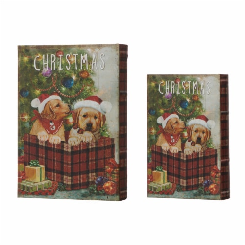 Glitzhome Decorative Wooden Christmas Dog's Book Box Storage Box Perspective: front